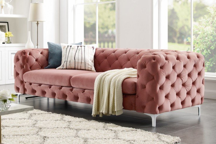 extravagantes samt sofa modern barock altrosa 3 sitzer chesterfield design riess. Black Bedroom Furniture Sets. Home Design Ideas