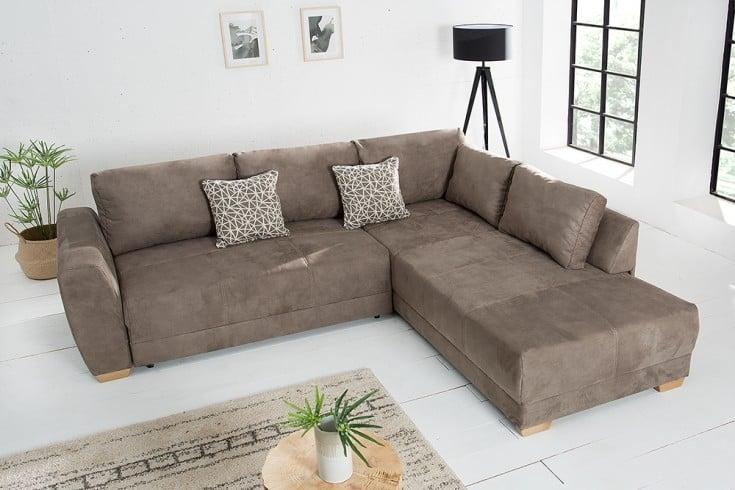 moderne wohnlandschaft norway 255cm taupe schlafsofa inkl kissen riess. Black Bedroom Furniture Sets. Home Design Ideas