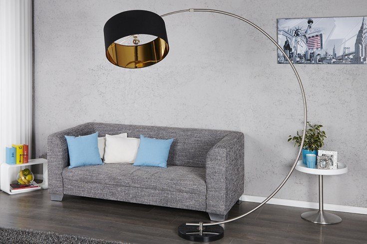 design bogenlampe python in schwarz gold bogenleuchte mit dimmer riess. Black Bedroom Furniture Sets. Home Design Ideas