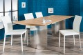 Exklusiver Design Stuhl MILANO ECHT LEDER weiss Ziernaht