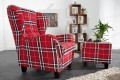 stilvoller ohrensessel jackson inkl hocker in rot kariert riess. Black Bedroom Furniture Sets. Home Design Ideas