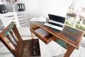 Massiver Schreibtisch JAKARTA 120 cm aus recycelten Fischerbooten mit Schublade Konsole