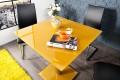 Exklusiver Esstisch Bistrotisch FLUID eckig aus echtem Opalglas mango mit Chromgestell