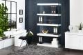 Design Sideboard FLOATING weiß 185x45x80 cm hochglanz Glas Komposition