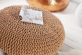 Design Strick Pouf LEEDS XXL coffee 70cm Hocker Baumwolle in Handarbeit Sitzkissen