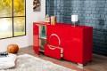 Exklusives Sideboard ZEN Hochglanz rot 160cm mit Edelstahl Applikationen