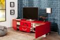 Exklusives TV-Lowboard ZEN Hochglanz rot 180cm mit Edelstahl Applikationen