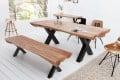 Massive Baumstamm Sitzbank AMAZONAS 170 cm Akazie Massivholz Raw Industrial Design