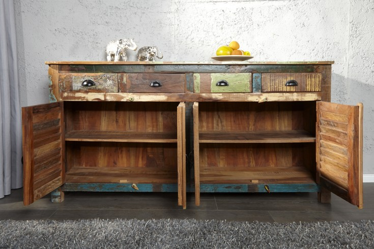 sideboard jakarta recycling holz bunt 180cm fischerbooten riess. Black Bedroom Furniture Sets. Home Design Ideas
