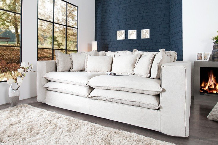 xxxl hussensofa cloud natur leinen stoff hussen 230cm riess. Black Bedroom Furniture Sets. Home Design Ideas