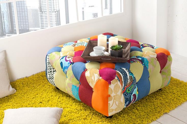 design chesterfield hocker patchwork bunt riess. Black Bedroom Furniture Sets. Home Design Ideas