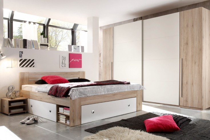gro er design schwebet renschrank brooklyn 315 cm wei eiche san remo kleiderschrank riess. Black Bedroom Furniture Sets. Home Design Ideas