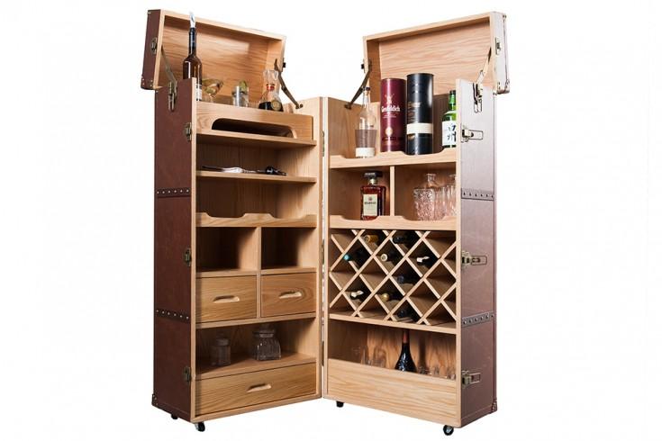 design weinschrank bar truhe globetrotter coffee recyceltes leder riess. Black Bedroom Furniture Sets. Home Design Ideas