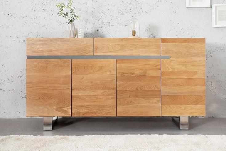massives sideboard genesis 170cm eiche massivholz mit baumkante und kufengestell aus edelstahl. Black Bedroom Furniture Sets. Home Design Ideas