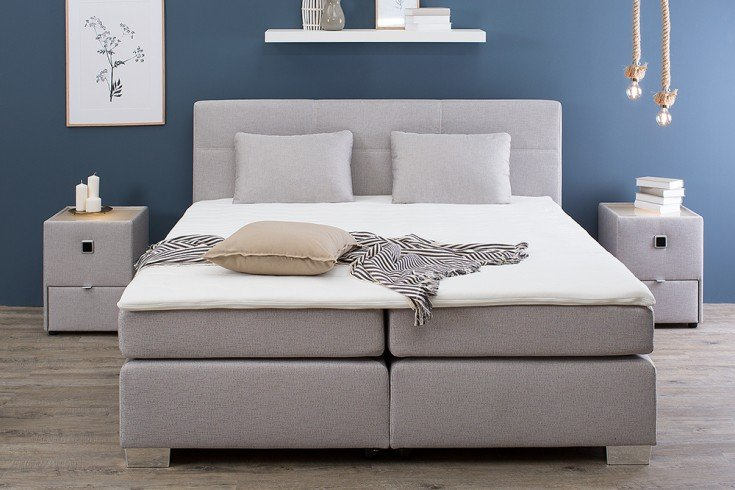 zeitloses boxspringbett lyon 180x200 cm grau beige inkl matratze und topper riess. Black Bedroom Furniture Sets. Home Design Ideas