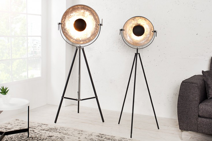 moderne design stehlampe studio 140cm schwarz silber. Black Bedroom Furniture Sets. Home Design Ideas