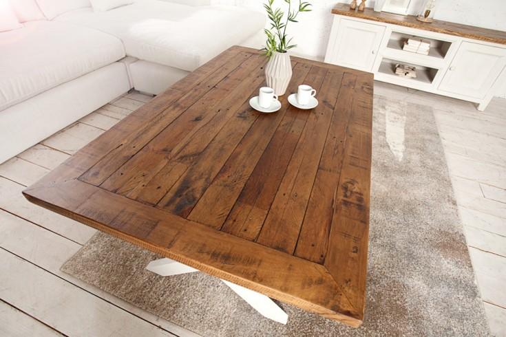 hochwertiger couchtisch byron 120cm kiefernholz wei vintage braun riess. Black Bedroom Furniture Sets. Home Design Ideas