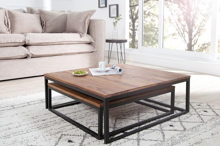 design couchtisch 2er set big fusion sheesham stone finish eisen schwarz matt riess. Black Bedroom Furniture Sets. Home Design Ideas