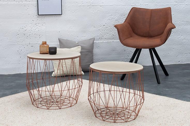 2er set moderner couchtisch beistelltisch storage kupfer. Black Bedroom Furniture Sets. Home Design Ideas