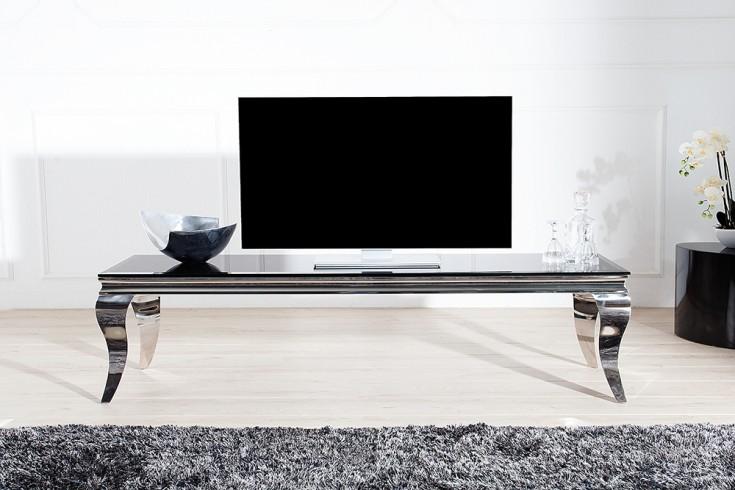 stylischer tv tisch modern barock 160cm edelstahl schwarzes opalglas riess. Black Bedroom Furniture Sets. Home Design Ideas