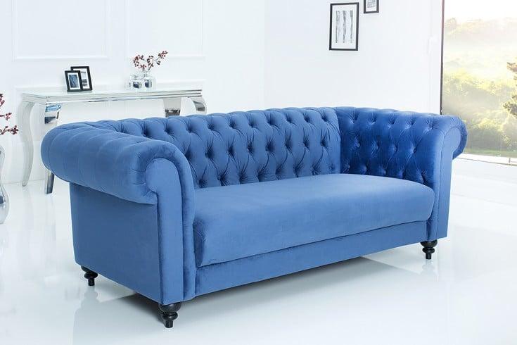 edles sofa chesterfield 200cm blau mit ziersteppung samt. Black Bedroom Furniture Sets. Home Design Ideas