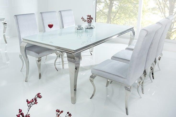 stylischer design esstisch modern barock 200cm edelstahl mit tischplatte aus wei em opalglas. Black Bedroom Furniture Sets. Home Design Ideas