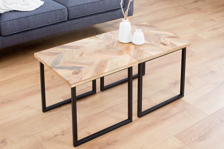 moderner beistelltisch fusion 45cm mangoholz eckig natur. Black Bedroom Furniture Sets. Home Design Ideas