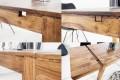 Massiver Tisch LAGOS 120-200cm Sheesham Massivholz mit Ansteckplatten und einzigartiger Maserung