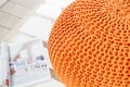 Design Strick Pouf LEEDS orange 50cm Hocker Baumwolle in Handarbeit Sitzkissen