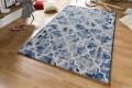 Großer Retro Design Teppich TIMELESS 160x230cm Blau Creme Vintage
