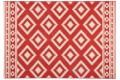Dekorativer Design Teppich ETHNO 160x230cm  Koralle Creme Aztekenmuster