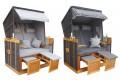 XL Strandkorb Premium 2 - 3 Personen Gartenliege NORDSEE DELUXE 2 Designs Grau Nadelstreifen