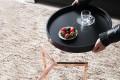 Extravaganter Couchtisch MODUL 40 cm matt schwarz kupfer rund inkl. Tablett Beistelltisch