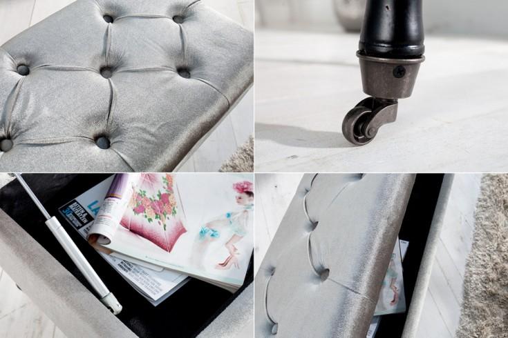 Edle Design Truhenbank Boutique Samt Silbergrau Sitzbank Mit