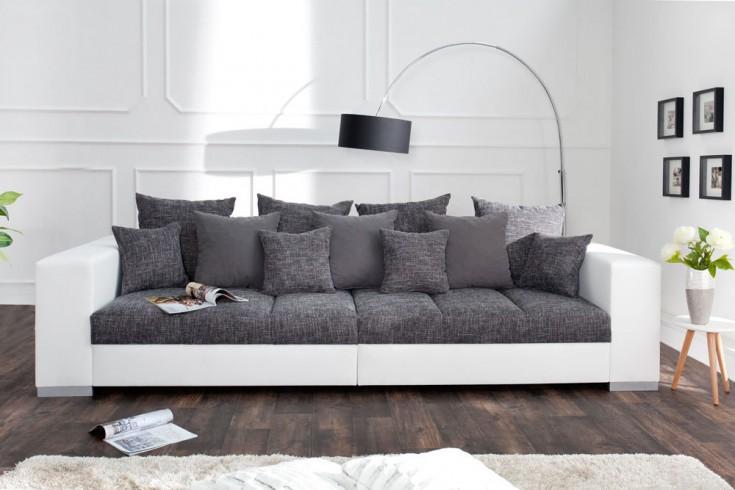 design xxl sofa big sofa island in wei grau charcoal strukturstoff inkl kissen riess. Black Bedroom Furniture Sets. Home Design Ideas