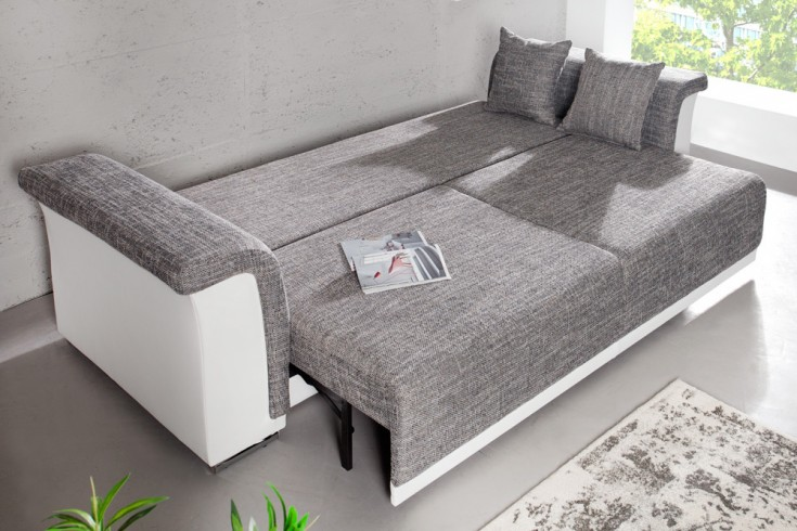 design big xl sofa bellina hellgrau strukturstoff wei schlaffunktion federkern riess. Black Bedroom Furniture Sets. Home Design Ideas