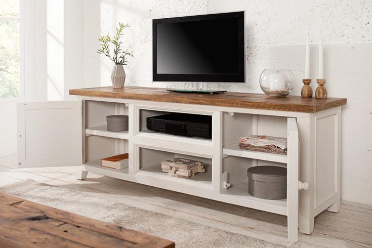 hochwertiges tv lowboard byron pinienholz wei vintage braun riess. Black Bedroom Furniture Sets. Home Design Ideas