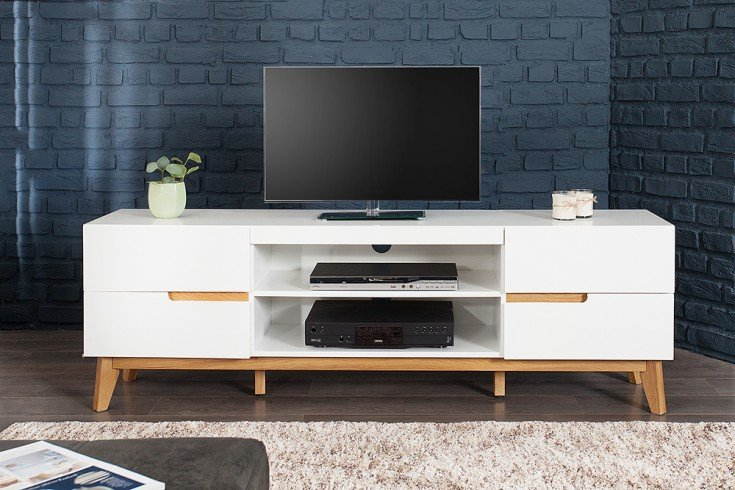 design tv lowboard cervo edelmatt lackiert kombiniert mit hochwertiger massiver eiche riess. Black Bedroom Furniture Sets. Home Design Ideas