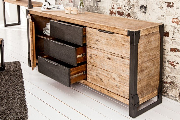 massives sideboard factory 180cm akazie teakgrau wei gek lkt riess. Black Bedroom Furniture Sets. Home Design Ideas