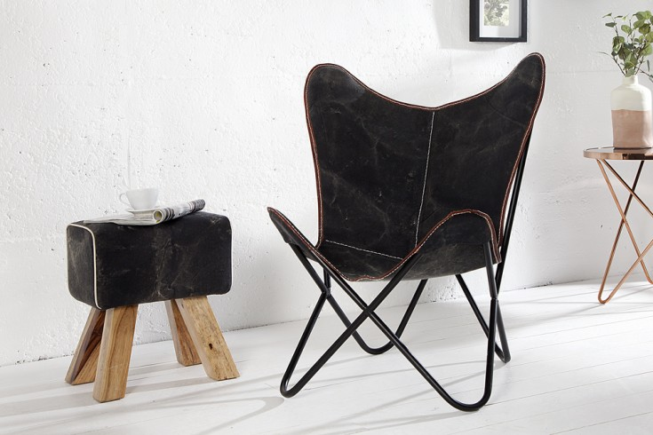 designklassiker lounge sessel butterfly dunkles canvas eisengestell riess. Black Bedroom Furniture Sets. Home Design Ideas