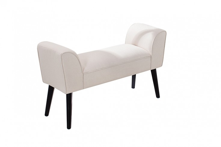 stilvolle sitzbank scarlett gepolstert creme mit armlehnen und massivholz beinen 90 cm riess. Black Bedroom Furniture Sets. Home Design Ideas