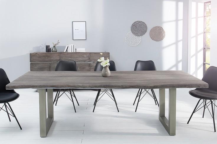 massiver baumstamm tisch mammut 240cm grau akazie massivholz industrial chic silber eisen. Black Bedroom Furniture Sets. Home Design Ideas