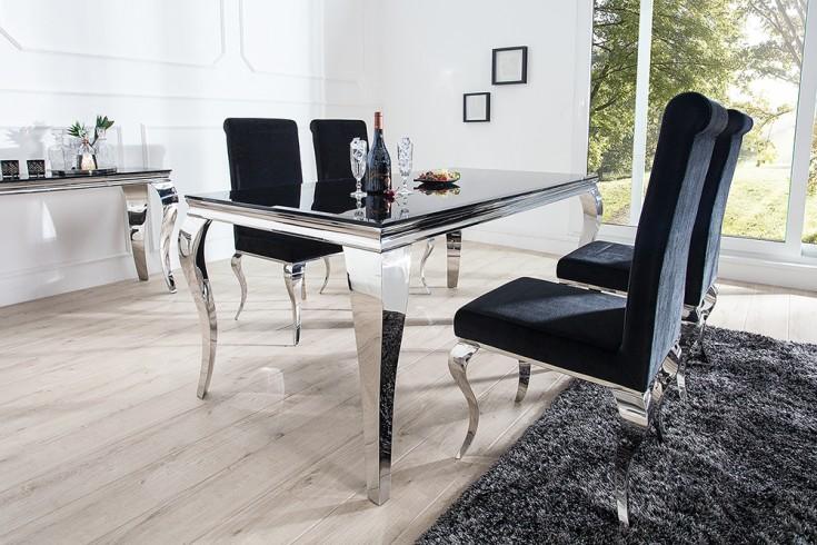 monumentaler esstisch modern barock silber 200 cm tischbeine aus poliertem edelstahl mit. Black Bedroom Furniture Sets. Home Design Ideas