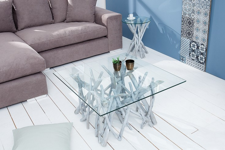 teakholz couchtisch driftwood markant grau beistelltisch. Black Bedroom Furniture Sets. Home Design Ideas