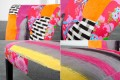 Patchwork Design Stuhl GYPSY mehrfarbig mit Nackenrolle