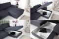 Design Ecksofa CHIP mit Schlaffunktion und Bettkasten Dunkelgrau Chromfuß Original CANDY Lifestyle