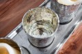 Großes Windlicht MISTERY 4er Set im Bauernsilber - Look nostalgisch CRAQUELEE GLAS