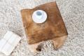 Massiver ZAHN Hocker MOLAR Beistelltisch Teak Block aus einem Stück gefertigt