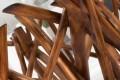 Design Teakholz Couchtisch DRIFTWOOD natur braun mit Glasplatte eckig