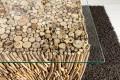 Exklusiver Treibholz Couchtisch FOSSIL Teak Elemente in Handarbeit gefertigt mit Glasplatte 60x60cm